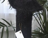 Felted Tall Black Speckled Mohair Vase Sculpture