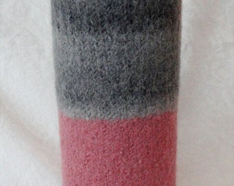 Felted Wool Handknit Pink and Grey Vase