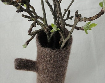 Handknit Felted Wool Brown Branch Vase