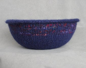 Handknit and Felted Lapis Blue Wool and Silk Bowl