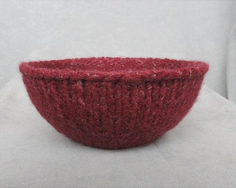 Handknit and Felted Burgundy Red Wool and Linen Bowl