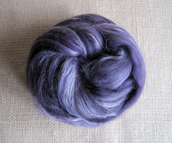 SALE - Darkwing Duck - Merino Top & Tussah Silk Fiber - 5.1 oz
