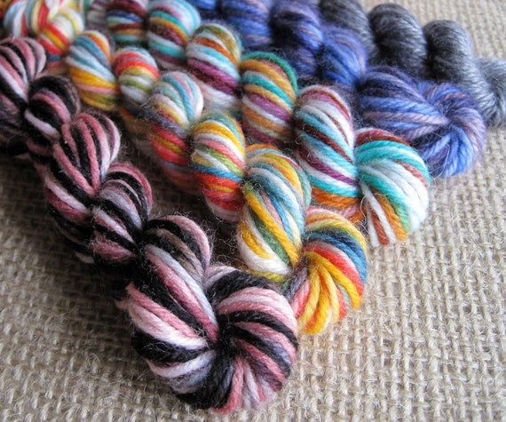 Mini Yarn Skein Bundle - Fingering and Sport Sock Weight - 20 yds - Hand Dyed