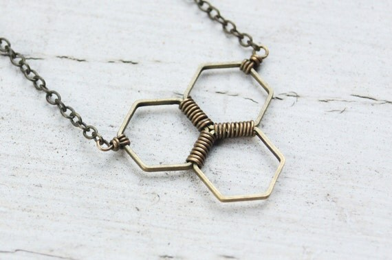Antique Brass Honeycomb Necklace