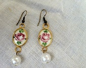 Vintage OOAK vintage enamel guilloche rose earrings