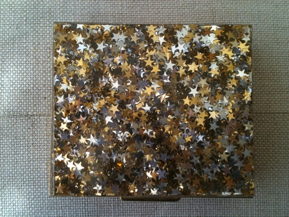 Vintage Retro Brass Pill box with silver and gold stars
