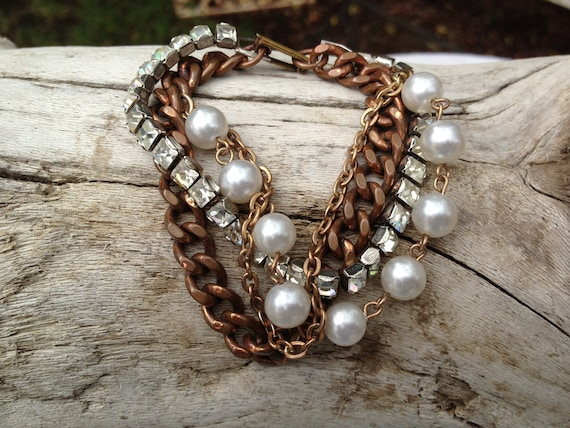 Antique Vintage OOAK Assembled Bracelet channel link rhinestones copper pearl Lovely
