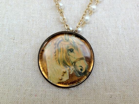 One of A Kind Assembled Antique Horse Bridle Button Necklace