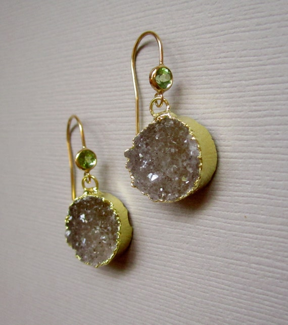 Reserved for Krista Agate Druzy Earrings Drusy Quartz Peridot Drops 14K Gold Fill