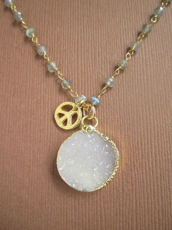 White Druzy Necklace Drusy Quartz Peace Charm 14K Gold Fill Labradorite Chain