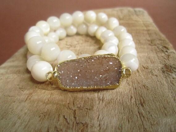 Agate Druzy Bracelet Drusy Quartz Mother of Pearl Beaded Stretch
