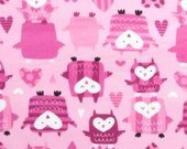 Fabric Bundle - Pink Owls and Pink hearts - 2 yards - Flannel