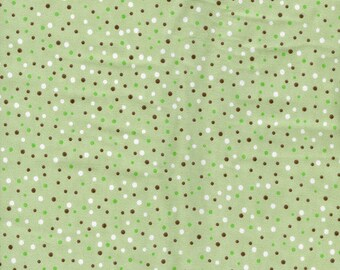 Brown and White Dots on Green Flannel - By the Yard