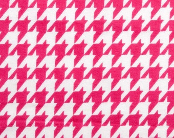 Sale - Pink Houndstooth - By the Yard - Flannel Fabric