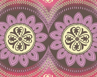 Decorative Medallions - Flannel  Fabric BTY