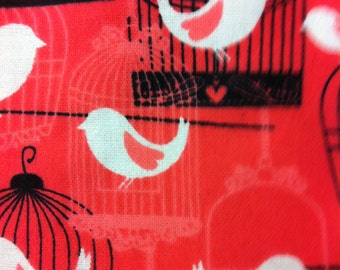 Birds and Birdcages on Red - By the Yard - Flannel Fabric