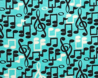 Musical Notes- By the Yard - Flannel Fabric