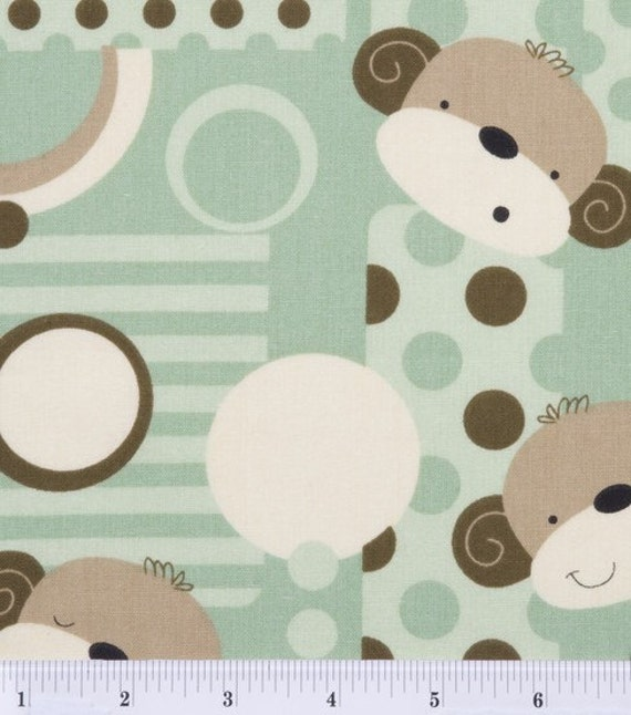 Monkey fun patch cotton nursery print fabric bty for Nursery monkey fabric