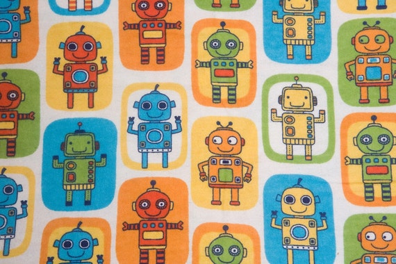 Robot flannel fabric 1 yard for Robot quilt fabric