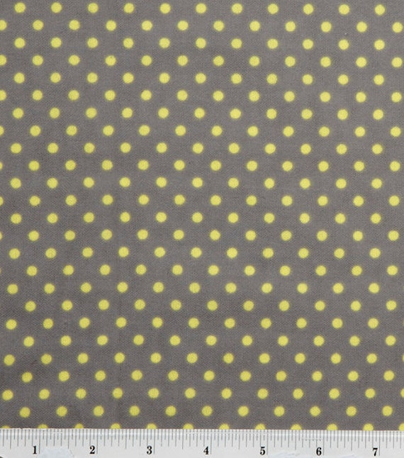 Yellow Dots on Grey - By the Yard - 4 yards