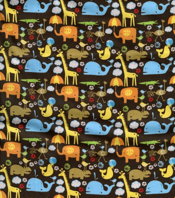 Sale - Jungle Animals and Sea Creatures on Brown - Flannel - By the Yard