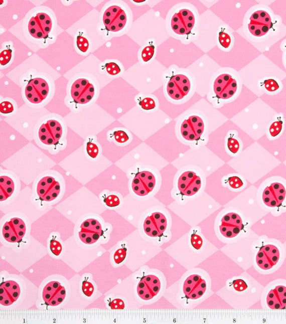 Pink Lady bug -  Fabric - 25 inches - End of Bolt