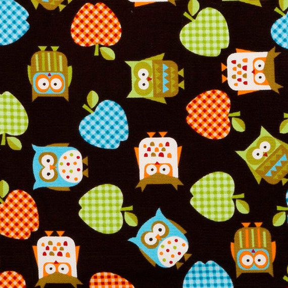 Owls on Black  Teachers Pet - Corduroy fabric - 34 inches - End of bolt