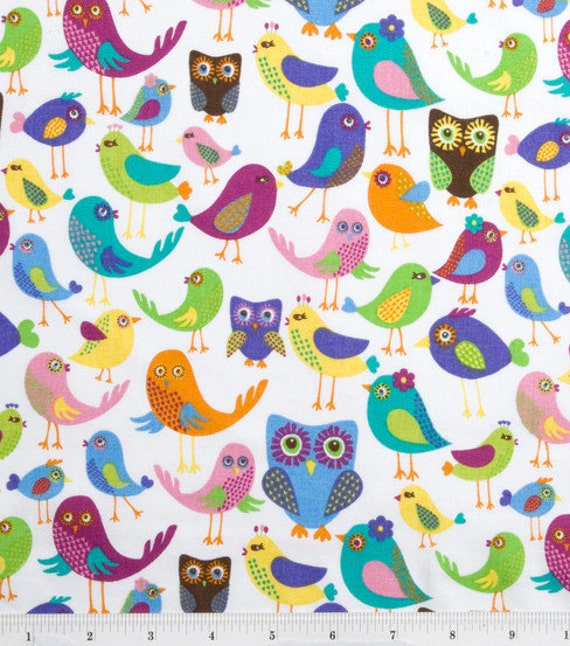 Kissing Owls and Birds Fabric - Cottong Quilting Weight - Fabric BTy