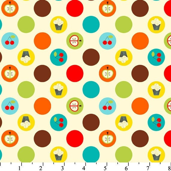 Kiss the Cook - Fruit and Dots by David Textiles - Cotton fabric-1 yard