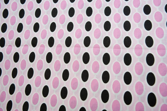 David Textiles - Claire Bella - Cotton - Beads in Pink and Black - 1 yard
