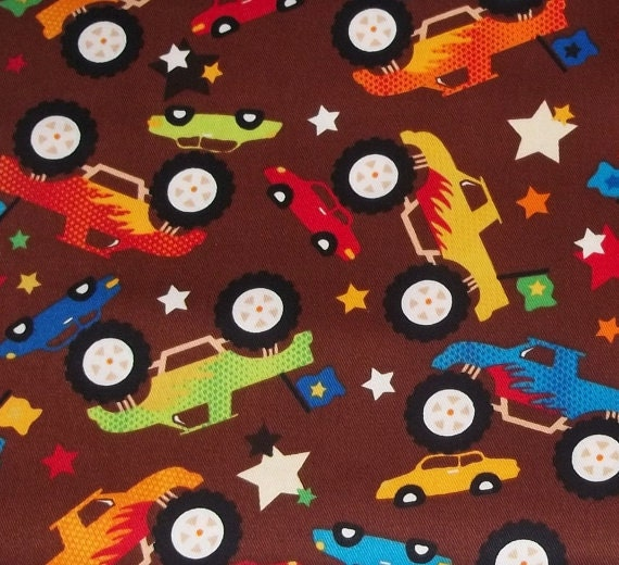Monster truck flannel fabric 23 inches end of bolt for Monster truck fabric