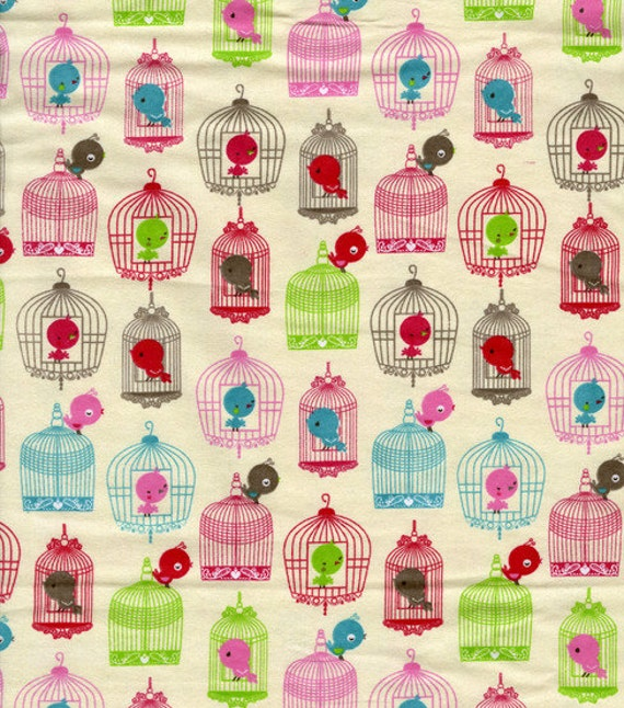 Birds and Birdcages - By the Yard - Cotton Flannel Fabric