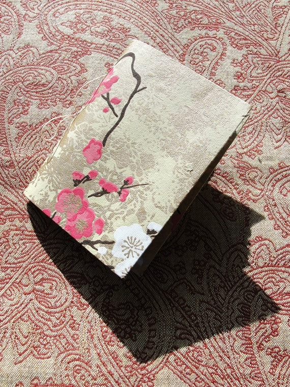 """Handmade stitched journal, golden flower handmade notebook 5.7""""x 4.2 """"with 80 pages from calligraphytzl"""