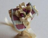 Handmade 1/12th scale dollshouse red/green check silk bonnet
