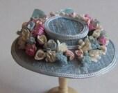 Pretty 1/12 scale handmade dollshouse miniature mid blue silk hat