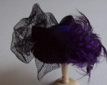 Handmade 1/12 dollshouse miniature purple feather hat