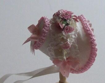 Handmade 1/12th miniature dollshouse beautiful ivory and pink bonnet