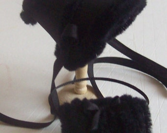 Beautiful handmade 1/12 miniature dollshouse black silk bonnet and muff