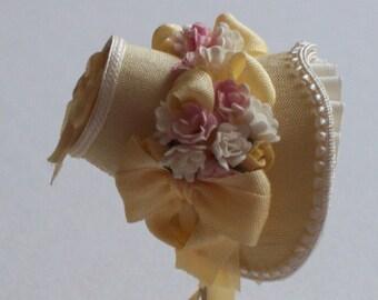 Handmade 1/12th scale dollshouse beautiful pale gold silk bonnet