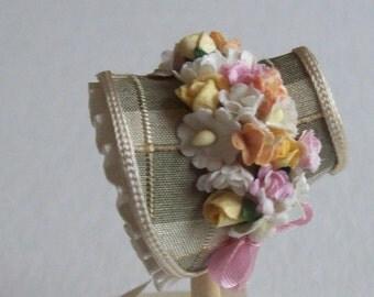 Lovely 1/12 dollshouse handmade pale green check silk narrow bonnet