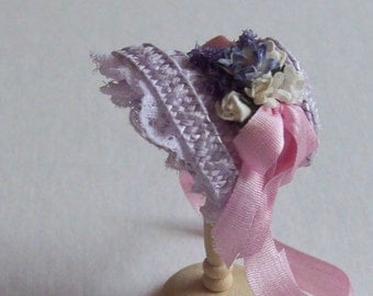 Lovely 1/12 dollshouse handmade lilac straw narrow bonnet