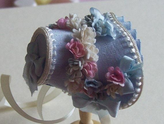 Handmade 1/12th scale dollshouse pale blue silk bonnet