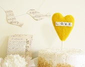 Yellow Heart Wedding Cake Topper with Vintage Dice Sign LOVE Craspedia Color Summer Wedding Photo Prop by Cherrytime