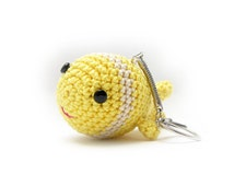 Keychain Charm, Fish KeyChain, Fish Pendant, Yellow Keychain, Crochet Pendant, Amigurumi Keychain, Yellow Pendant