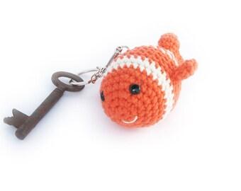 Amigurumi Fish Keychain Charm, Nemo KeyChain Pendant, Amigurumi Keychain, Crochet Keychain, Crochet Pendant