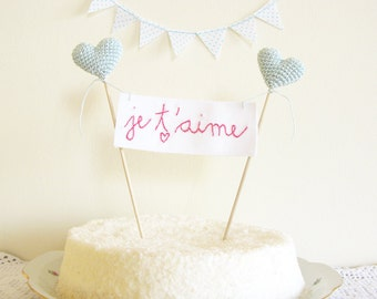 Wedding Cake Topper, Je T'aime Sign, Soft Mint Blue, French Cake Banner, Hearts on Cake