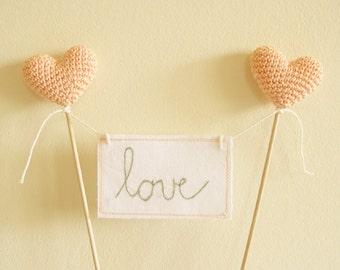 Love Wedding Cake Topper, Crochet Peach Wedding Decoration, Love Sign Banner