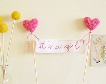 Baby Shower Cake Topper It's a Girl with Pink Crochet Hearts, Baby Girl Shower Decor