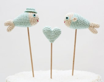 Mint Fish Cake Topper, Wedding Cake Topper, Beach Wedding, Cake Decor