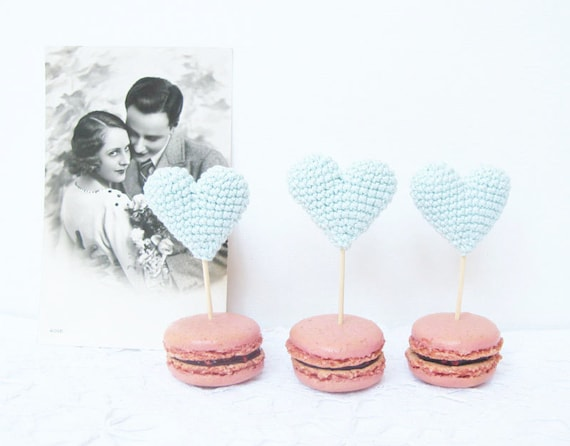 Cup Cake Topper, Mint Blue Crochet Hearts, Party Hearts, Party Favors
